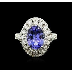 14KT White Gold 3.47 ctw Tanzanite and Diamond Ring