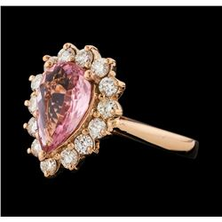 1.32 ctw Pink Tourmaline and Diamond Ring - 14KT Rose Gold
