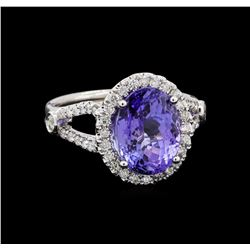 4.70 ctw Tanzanite and Diamond Ring - 14KT White Gold