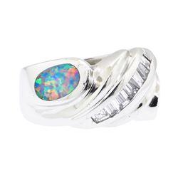 1.30 ctw Opal And Diamond Ring - Platinum