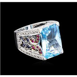 20.00 ctw Multi Gemstone and Diamond Ring - 14KT White Gold