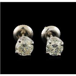 1.37 ctw Diamond Solitaire Earrings - 14KT White Gold