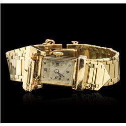 Ladies 14KT Yellow Gold Hidden Dial Vintage Wristwatch