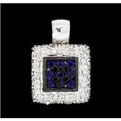 0.25 ctw Sapphire and Diamond Pendant - 14KT White Gold