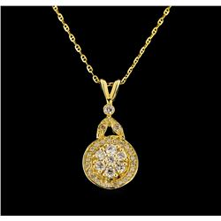14KT Yellow Gold 0.37 ctw Diamond Pendant With Chain