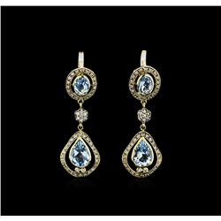 3.65 ctw Blue Topaz and Diamond Earrings - 18KT Yellow Gold