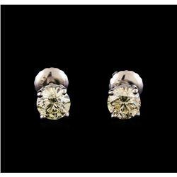 14KT White Gold 1.09 ctw Diamond Solitaire Earrings