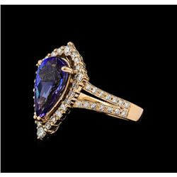 3.08 ctw Tanzanite and Diamond Ring - 14KT Rose Gold