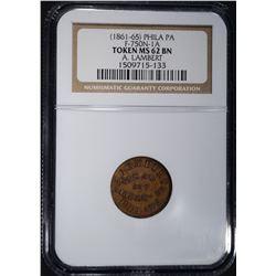 1861-65 TOKEN PHILA. PA, NGC MS-62 BN