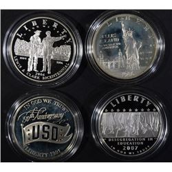 4 - PROOF SILVER COMMEM DOLLARS;