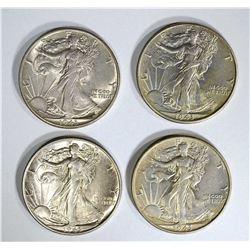 4-1943 WALKING LIBERTY HALF DOLLARS, CH BU