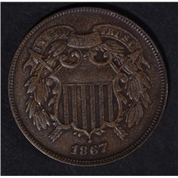 1867 TWO CENT DOUBLED DIE OBVERSE AU