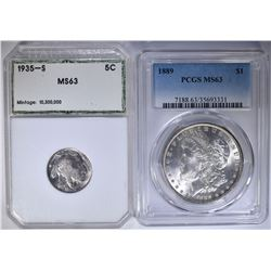 (2) GRADED COINS