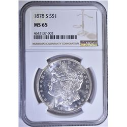1878-S MORGAN SILVER DOLLAR NGC MS-65