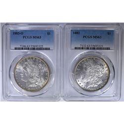 (2) MORGAN  DOLLARS PCGS MS-63 - 1882 & 1883-O