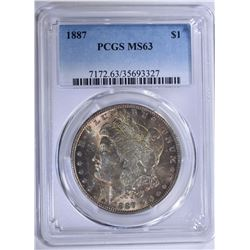 1887 MORGAN SILVER DOLLAR PCGS MS-63