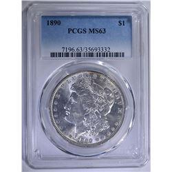1890 MORGAN SILVER DOLLAR PCGS MS63