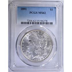 1891 MORGAN SILVER DOLLAR PCGS MS-62 WHITE