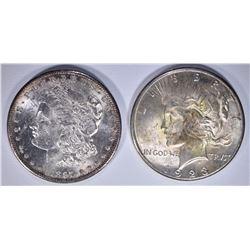 SILVER DOLLARS CH BU: 1923-S PEACE & 1897-S MORGAN