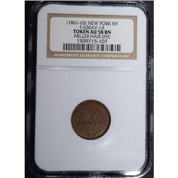 1861-65 NEW YORK N.Y. CIVIL WAR TOKEN, NGC AU58 BN