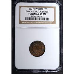 1863 NEW YORK N.Y. CIVIL WAR TOKEN, NGC AU-58 BN