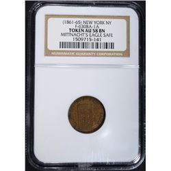 1861-63 NEW YORK N.Y. CIVIL WAR TOKEN, NGC AU58 BN