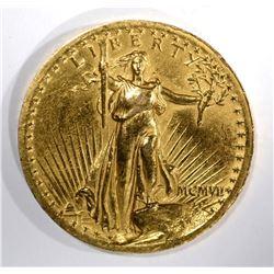 1907 $20 HIGH RELIEF ST GAUDENS GOLD