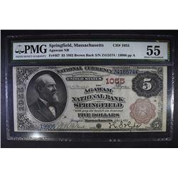 1882 BROWN BACK $5 PMG 55