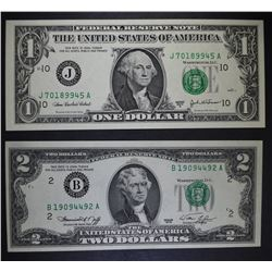 1976 $2 & 2003A $1 FEDERAL RESERVE NOTES