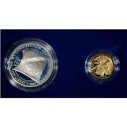 1987 2pc CONSTITUTION SET w/$5 GOLD PR