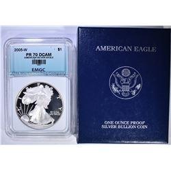 2005-W AMERICAN SILVER EAGLE EMGC
