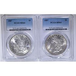 2 1887 MORGAN DOLLARS PCGS MS64