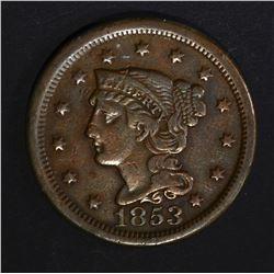 1853 LARGE CENT  VF+