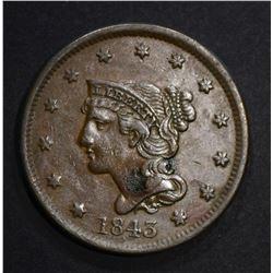 1843 LARGE CENT  AU with spot
