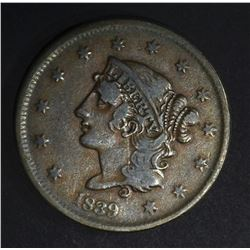 1839 BOOBY HEAD LARGE CENT  VF  N-11