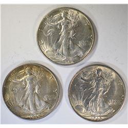 3-1945-S WALKING LIBERTY HALF DOLLARS, AU++