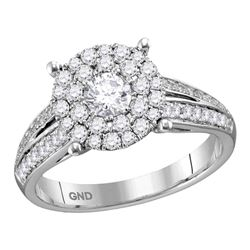 0.97 CTW Diamond Solitaire Bridal Engagement Ring 14KT White Gold - REF-127M4H