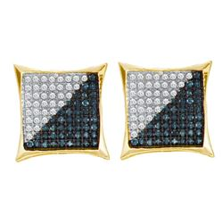 0.32 CTW Mens Blue Color Diamond Square Kite Cluster Earrings 10KT Yellow Gold - REF-19M4H