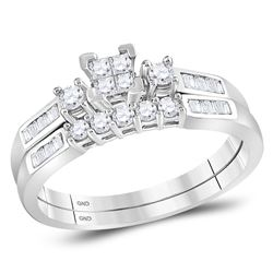 0.40 CTW Princess Diamond Bridal Engagement Ring 10KT White Gold - REF-30X2Y