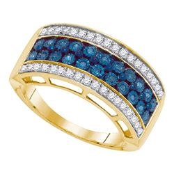 0.45 CTW Blue Color Diamond Tripe Row Ring 10KT Yellow Gold - REF-37W5K