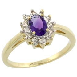 Natural 0.67 ctw Amethyst & Diamond Engagement Ring 14K Yellow Gold - REF-48H6W