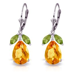 Genuine 13 ctw Citrine & Peridot Earrings Jewelry 14KT White Gold - REF-61M2T
