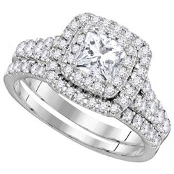 1.5 CTW Princess Diamond Double Halo Bridal Engagement Ring 14KT White Gold - REF-262K4W