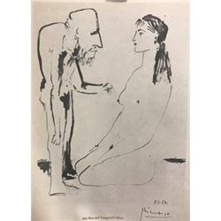 Old Man and Young Girl - Pablo Picasso Lithograph