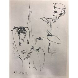 Old Painter and Model - Pablo Picasso Lithograph