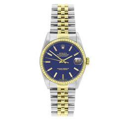 Rolex Datejust Blue Face Yellow Gold