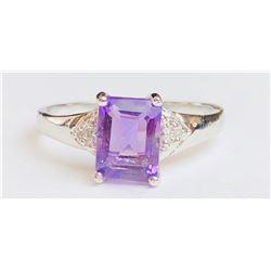 Classy Amethyst Diamond Ring(cts)