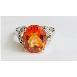 Stunning Hessonite Diamond Ring(cts)