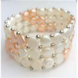 Beautiful White And Pink Pearl Bracelet