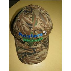 ANGLERS Hats - New Qty 8  Green Camo w/blue/green/white stitching